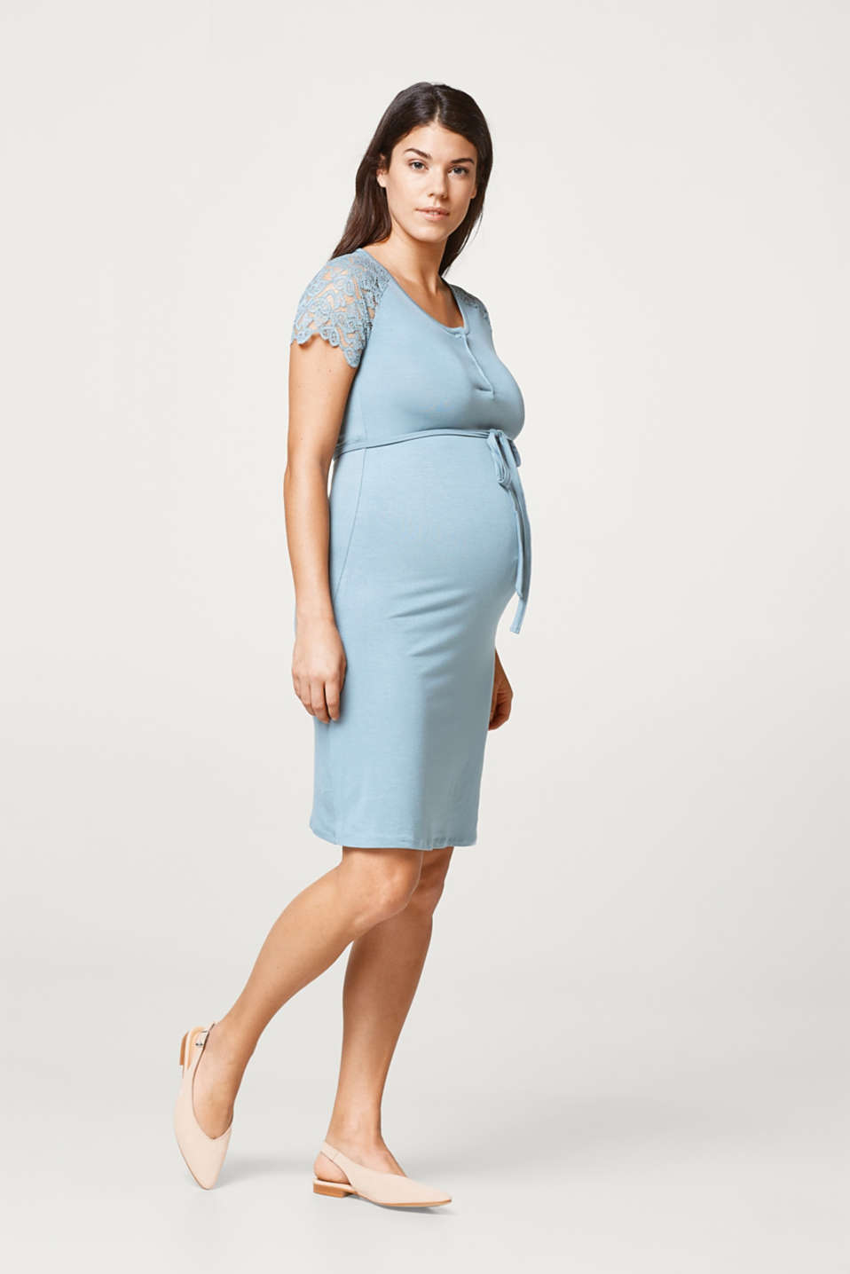 Stretch lace-trimmed maternity dress