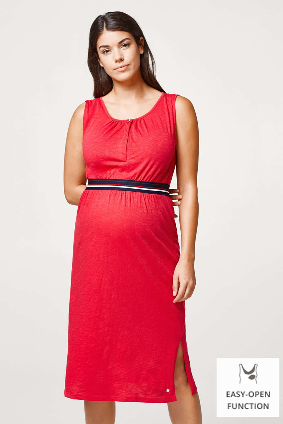 Esprit - Slub dress with nursing top and elasticated waistband