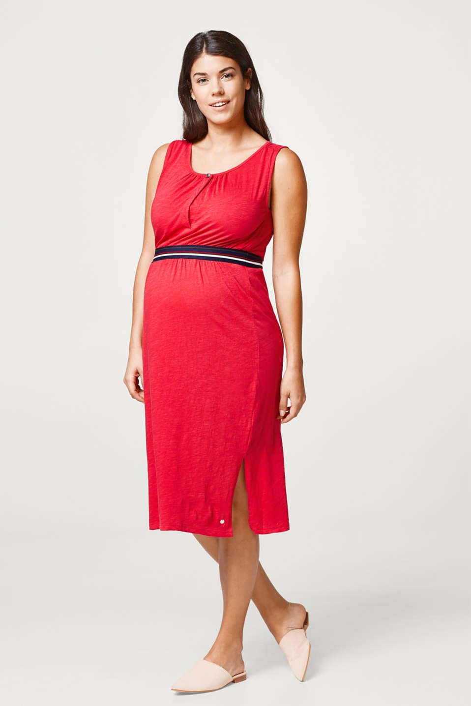 Slub dress with nursing top and elasticated waistband