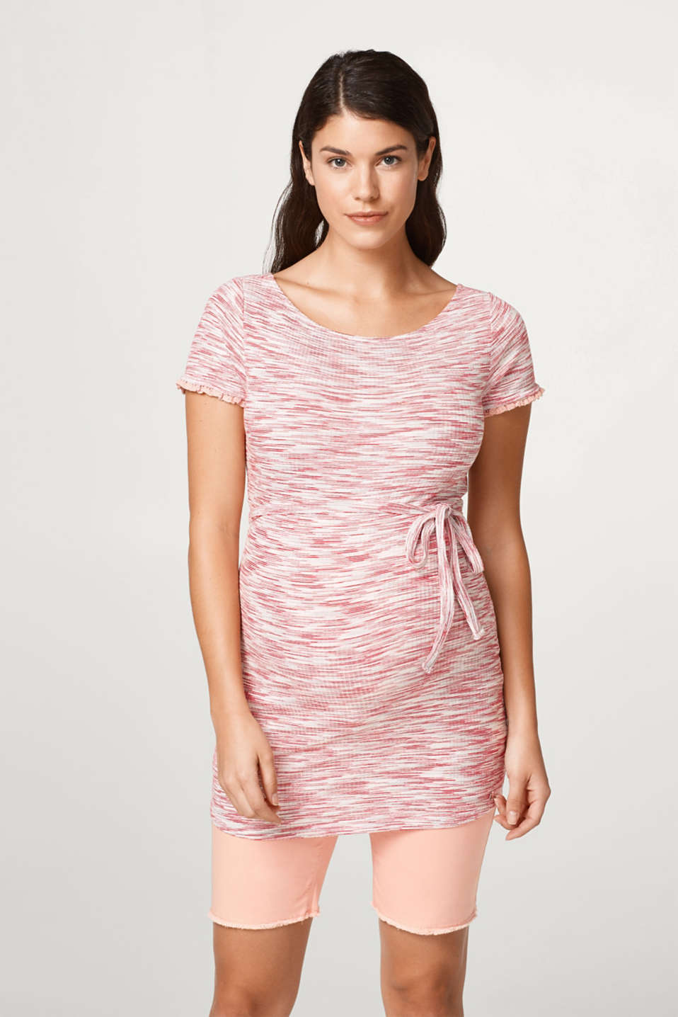 Esprit - Finely ribbed maternity top + belt
