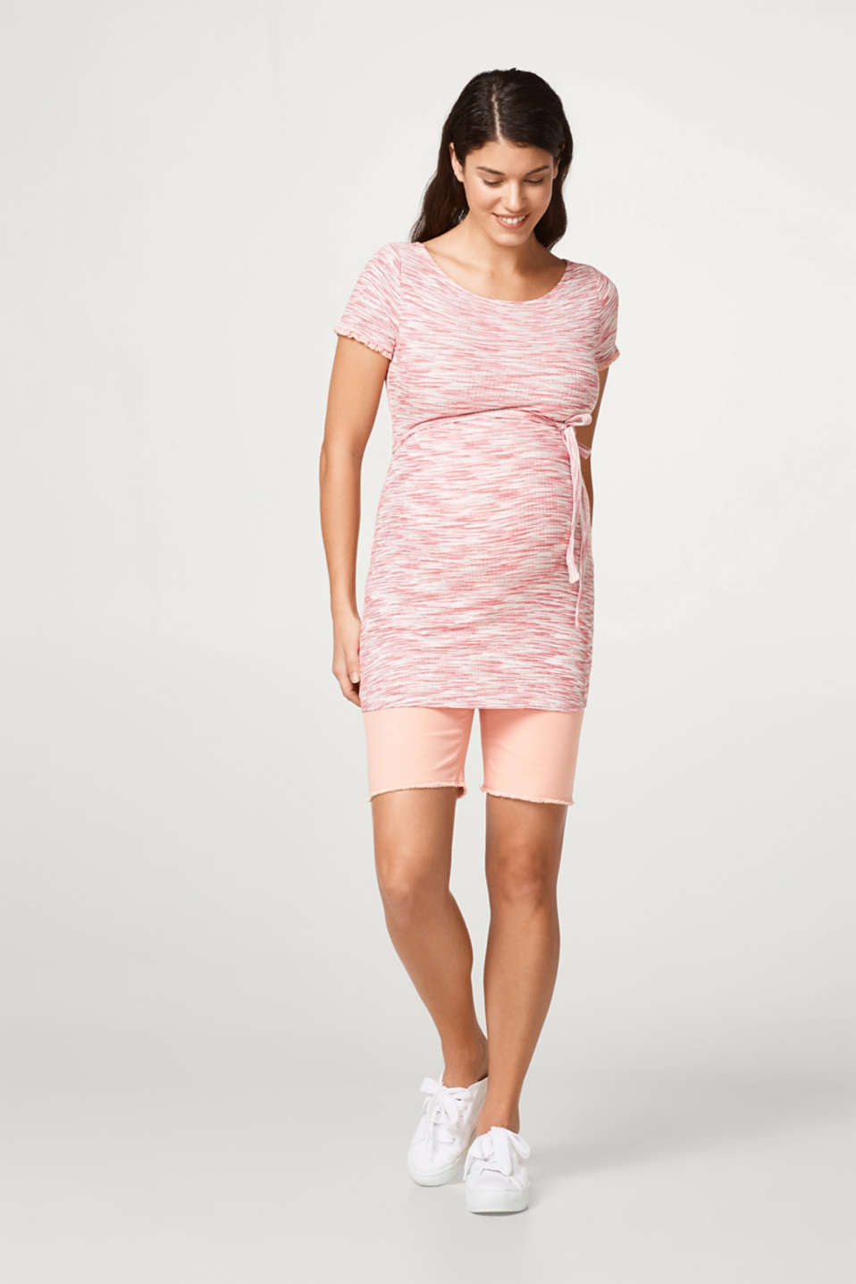 Finely ribbed maternity top + belt