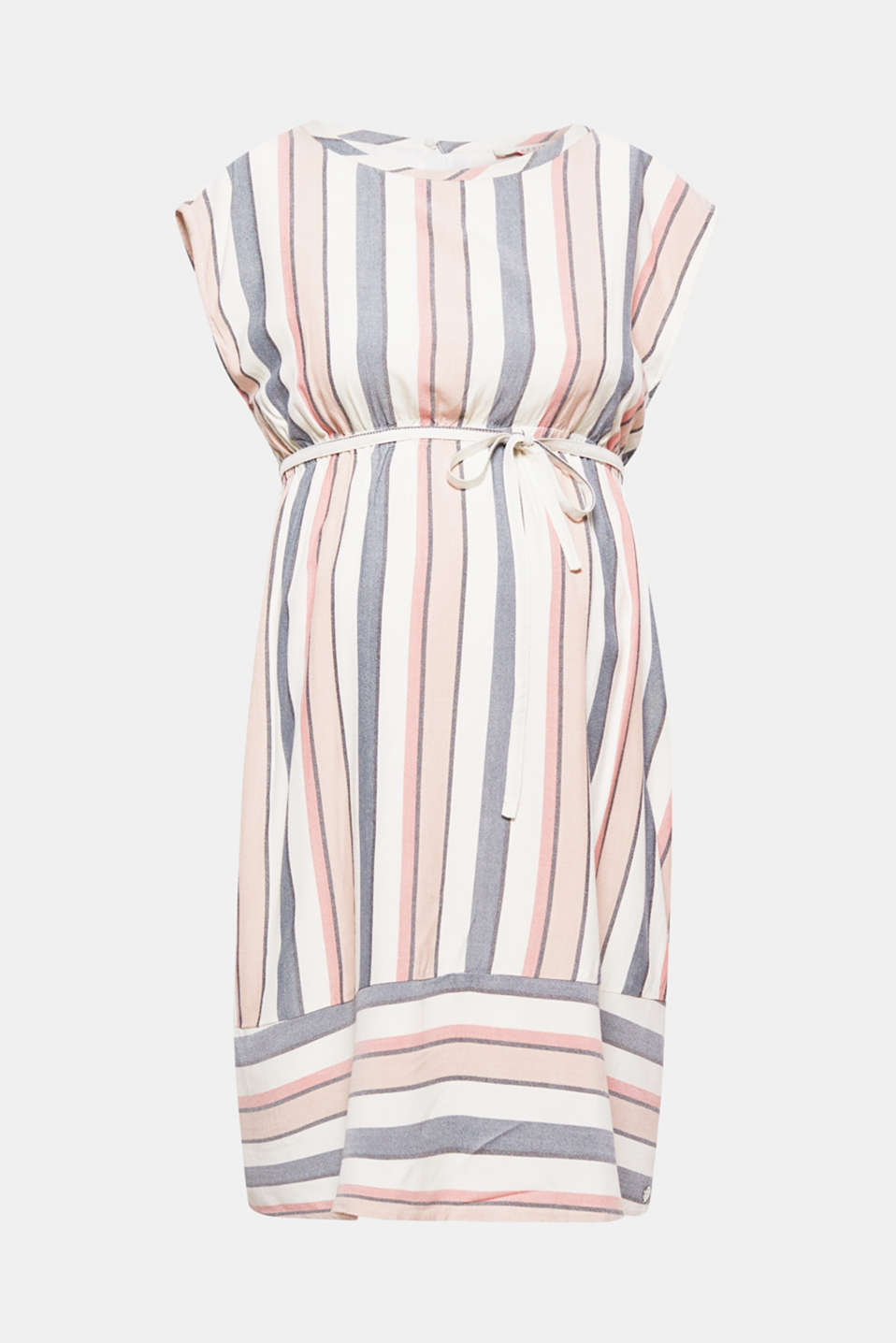 Fresh summer style for expectant mums! Vertical and horizontal striped sundress with a tie-around belt and underskirt.