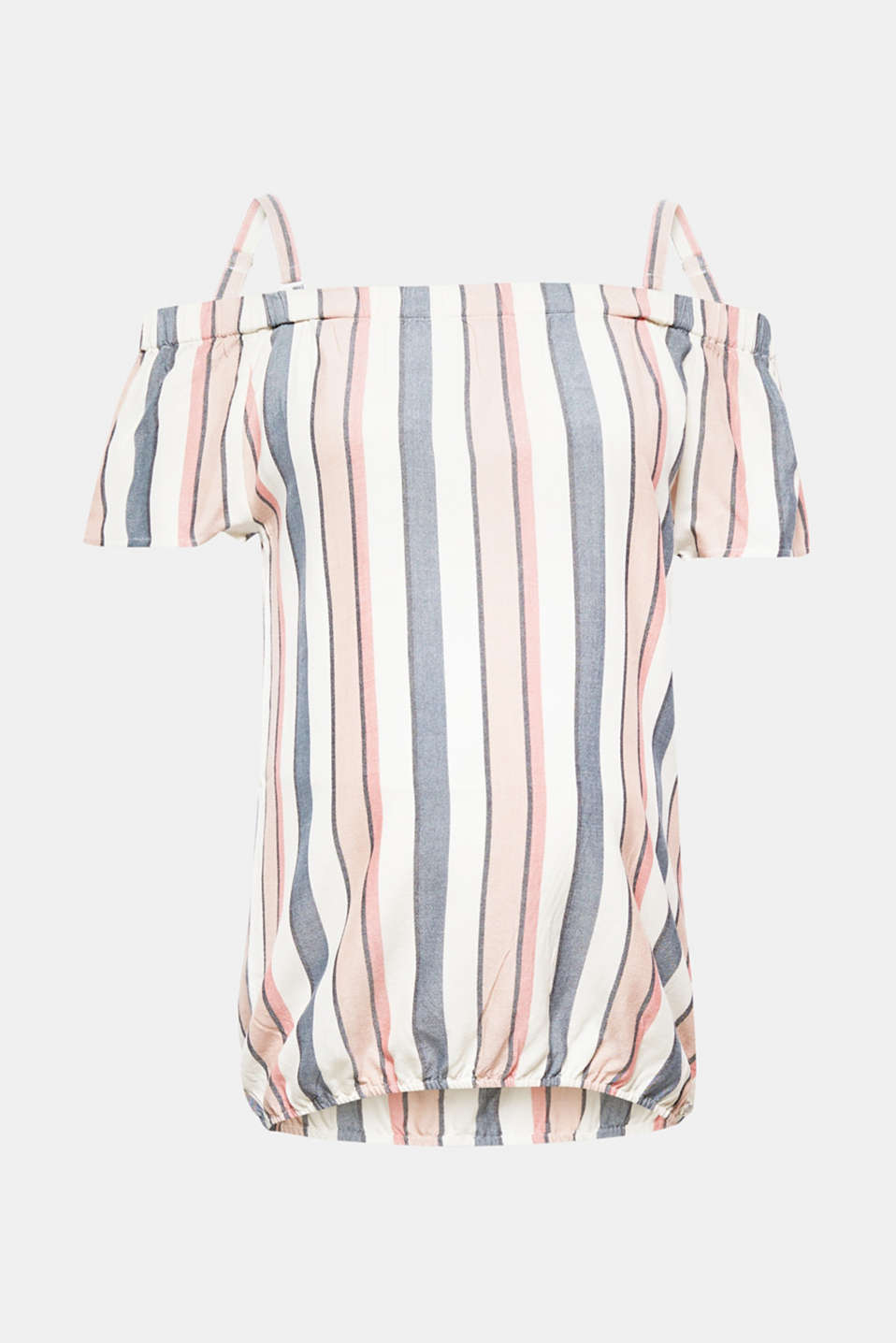 The trendy vertical stripes make this summery, floaty off-the-shoulder blouse a firm fave!