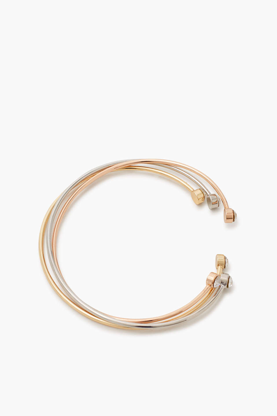 Gold, silver, copper: Set of three bangles with zirconia