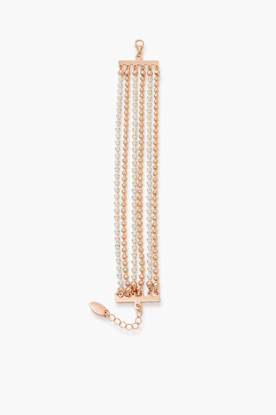 Enchanting metal bracelet with facet-cut beads in rose gold and white