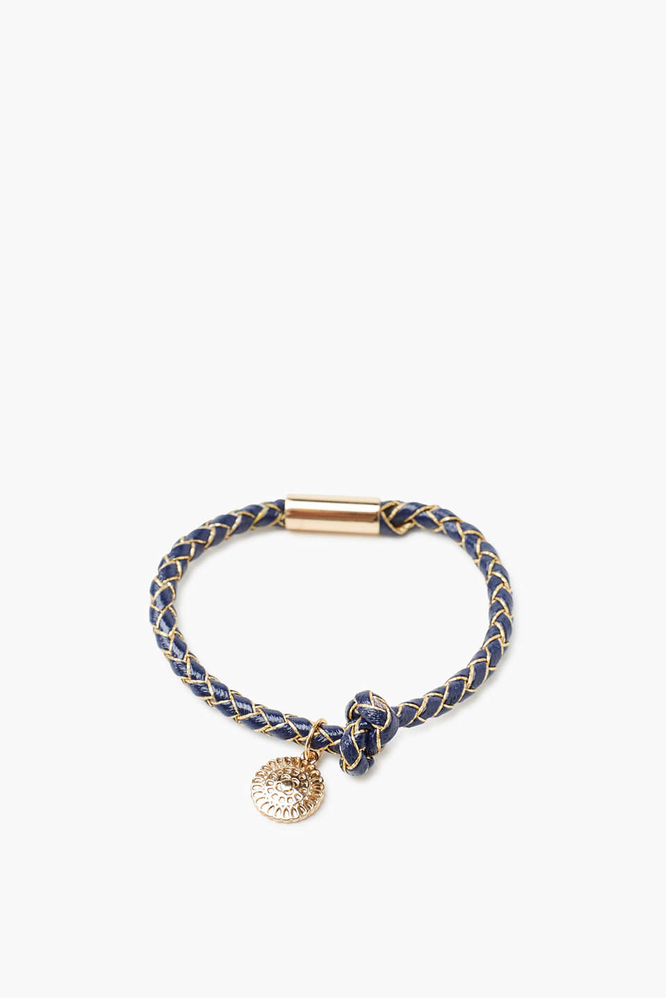 Faux leather bracelet with gold accents and an ornamental charm
