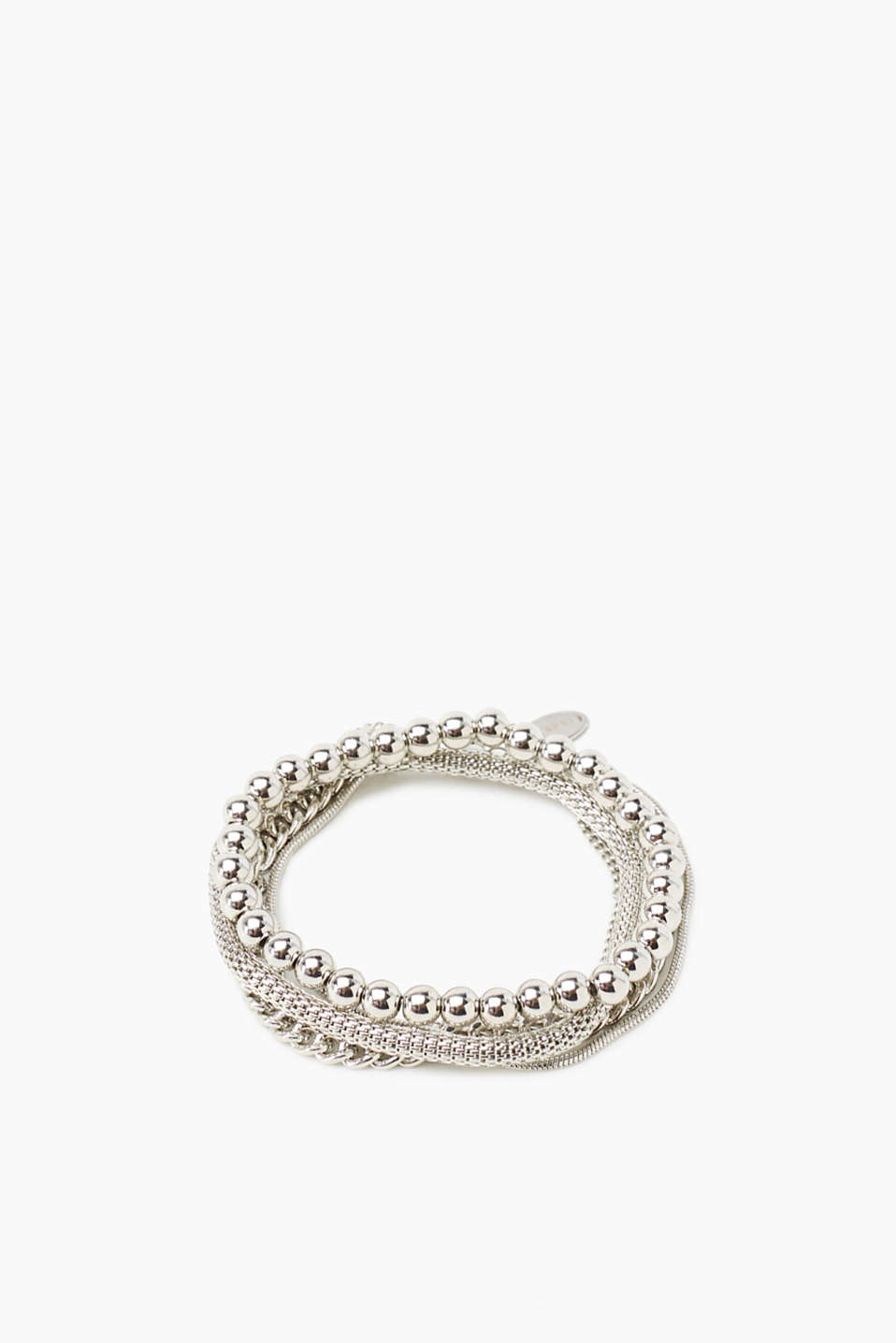 In a high-quality metal alloy: Set of an elastic beaded bracelet and a curb chain bracelet as well as a multi-row bracelet