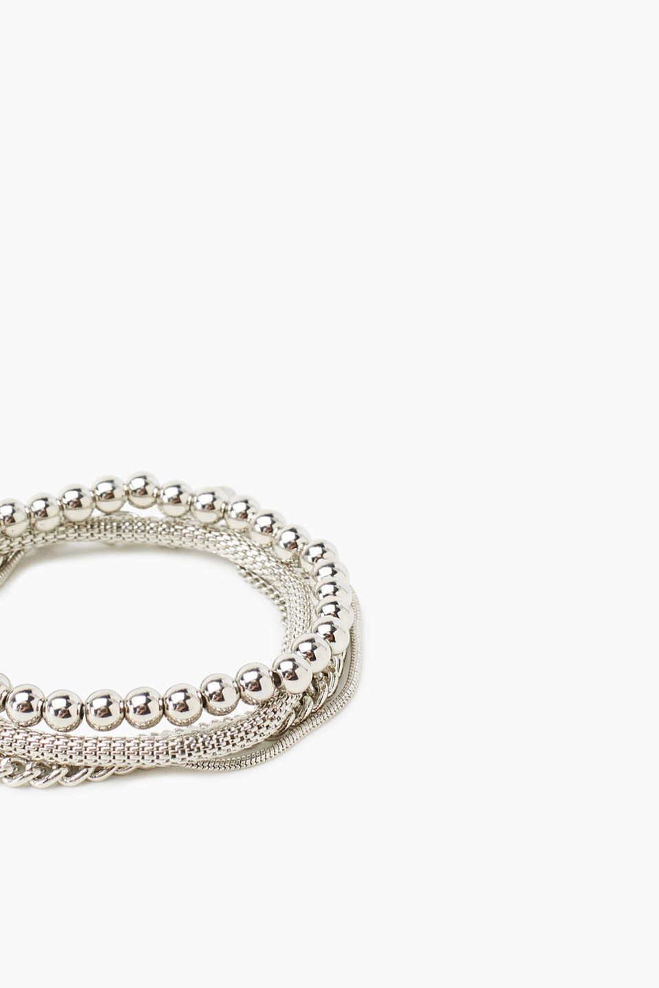 Set of three bracelets in a silver tone