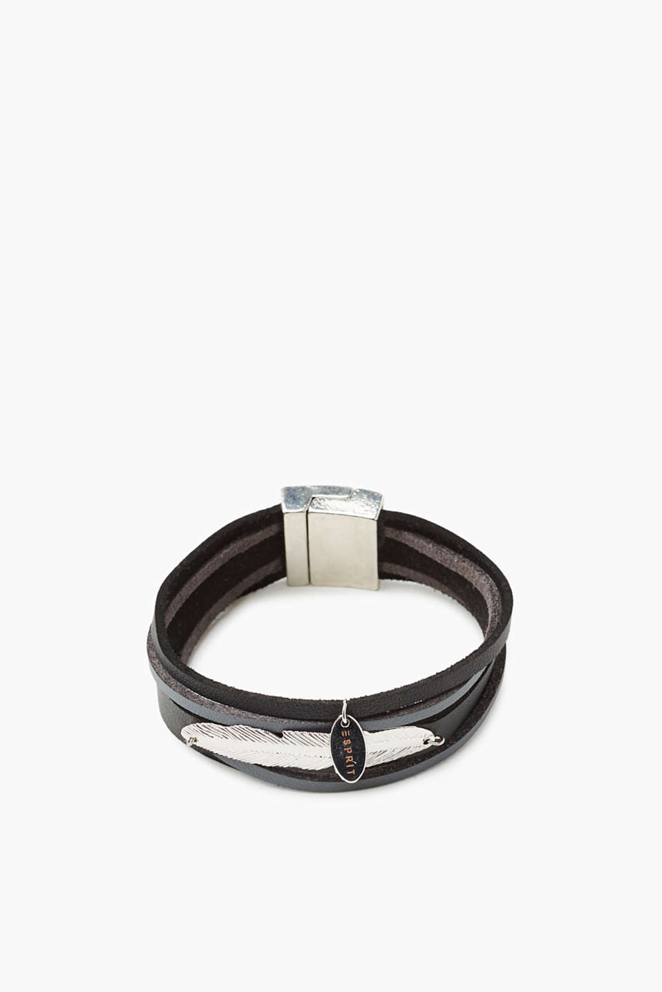 Esprit - Faux leather bracelet with feather appliqué