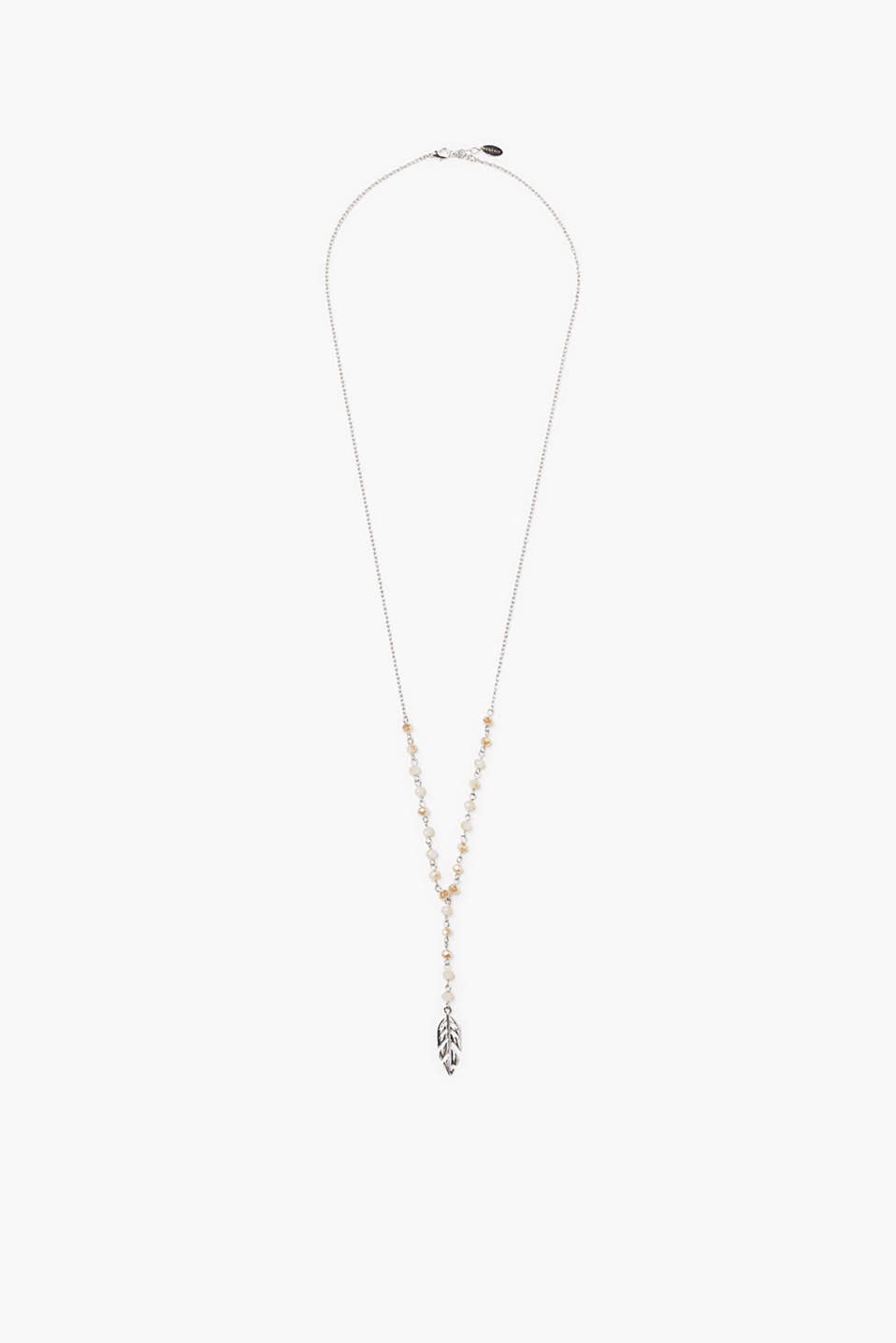 In a pendulum form: silver-coloured metal necklace