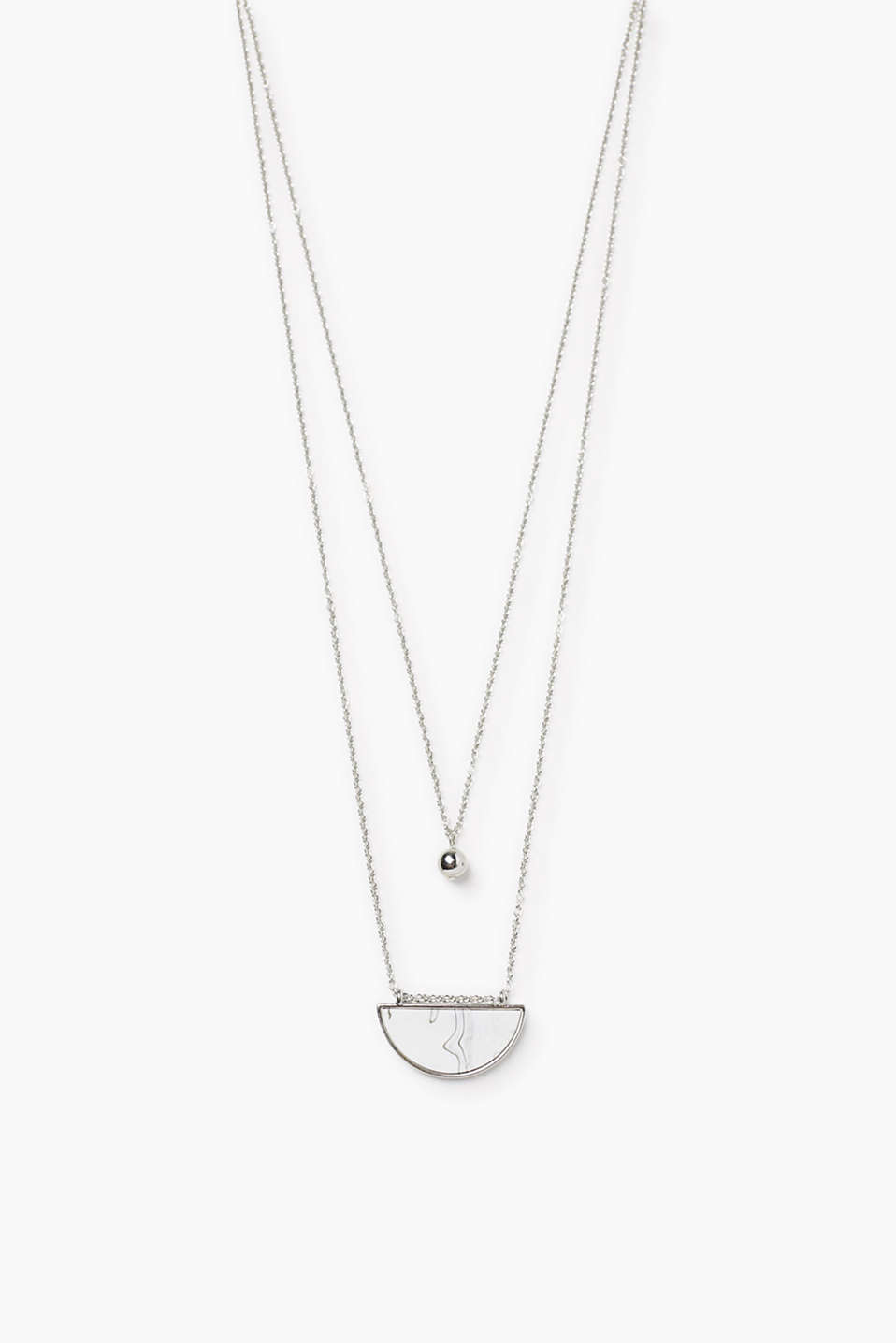 Esprit - Necklace with a marble look pendant