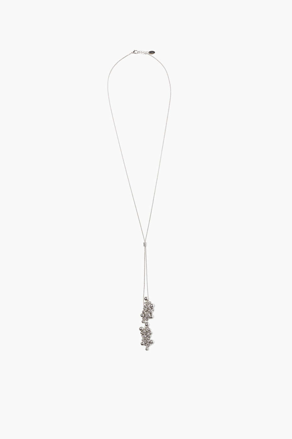 With an element for adjusting the length: long pendant necklace with bead pendants on the open ends