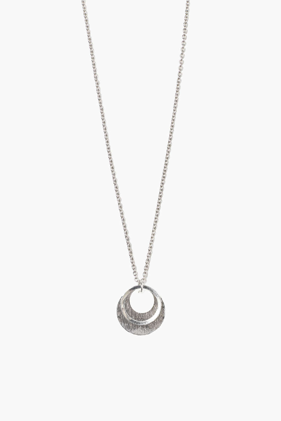 Link chain with pendant in a timeless silver tone