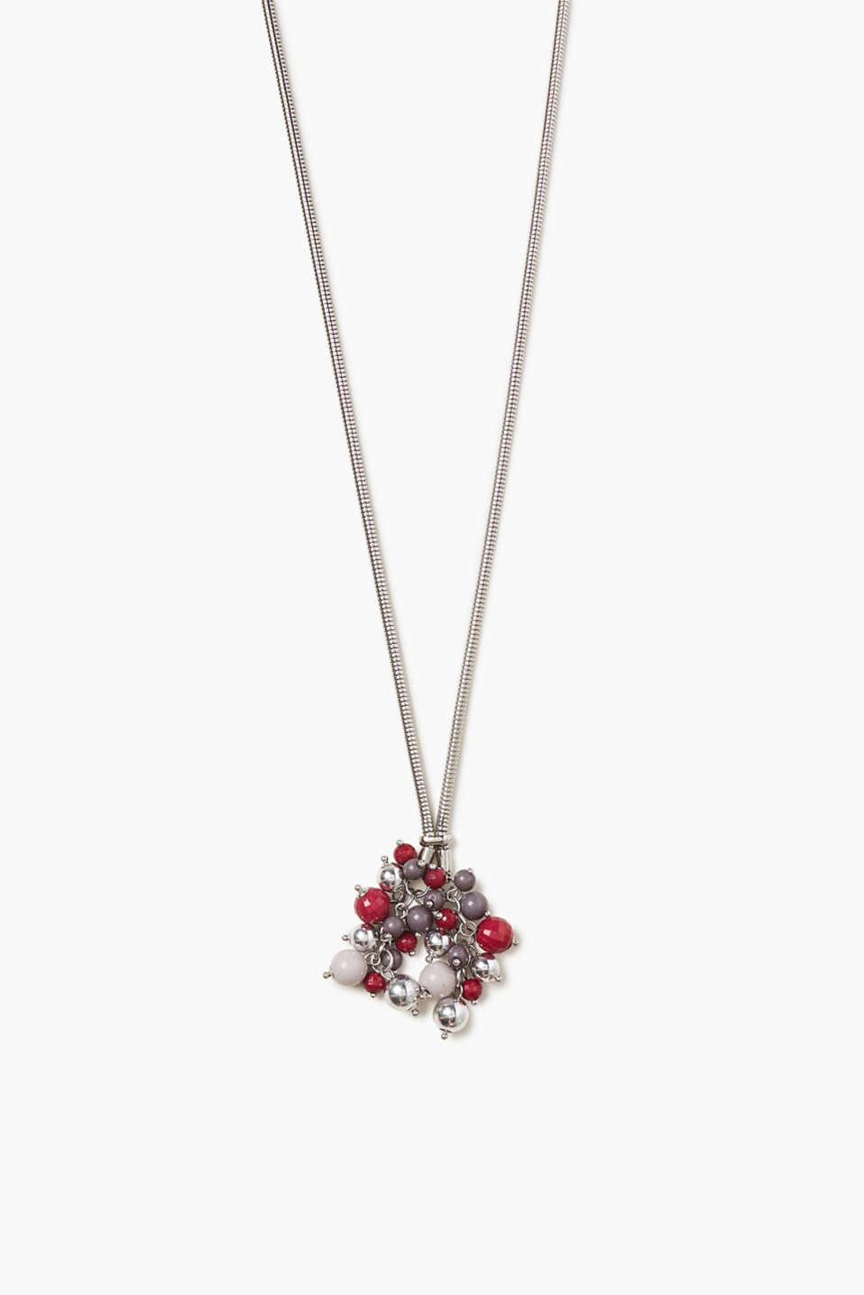 Esprit - Long collier métal, bouquet de perles