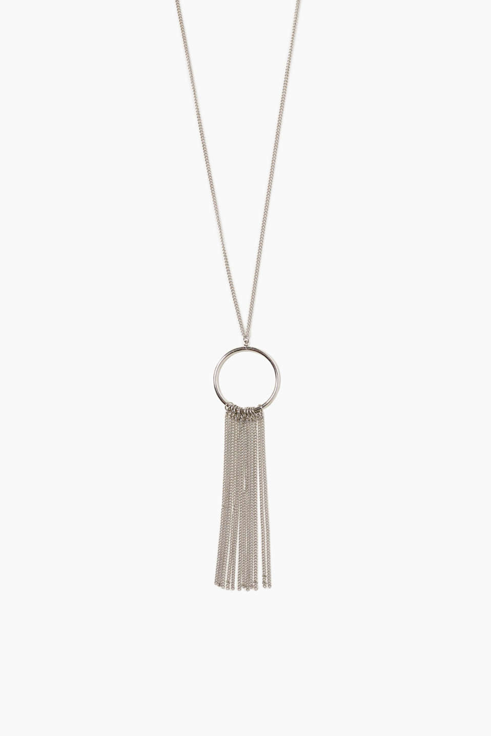 Happy hippie - that is the feeling this long metal necklace with ring pendants and fringing will give you