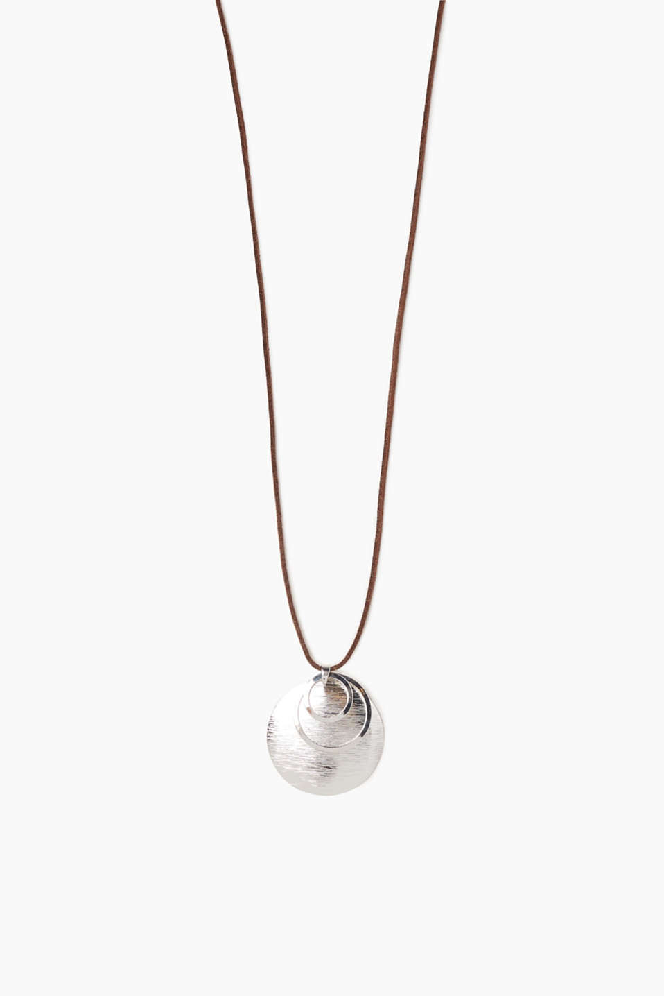 Esprit - Faux leather necklace with metal pendants