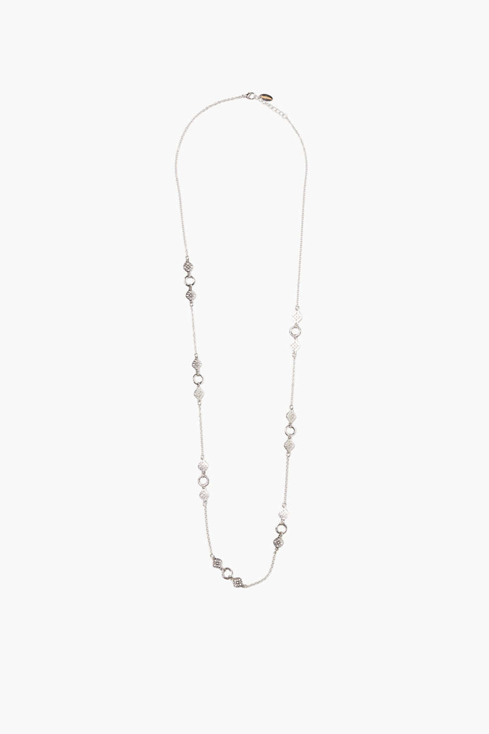 Dainty head-turner in a special length: metal necklace with ornaments and rings