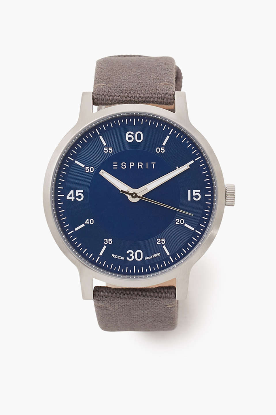 Large watch with stainless steel casing and a canvas strap, Ø approx. 45 mm