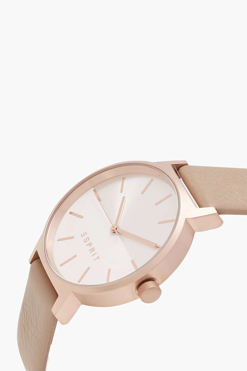 Watch with a matte casing in rose gold