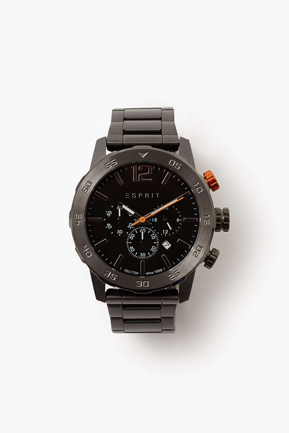 With a large casing and striking colours: dark chrono with a stopwatch function and 24 hour hand, Ø approx. 48 mm