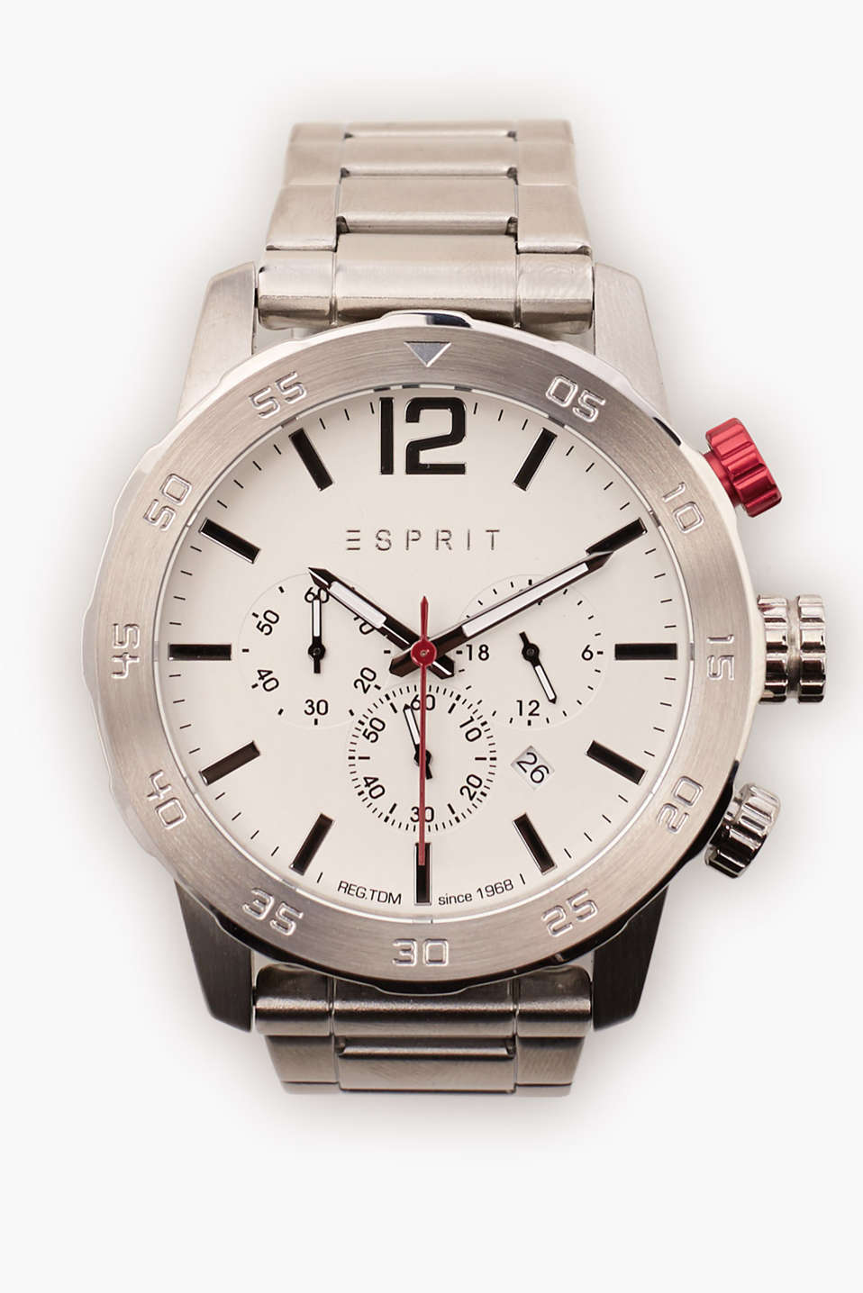 Chrono with a large casing, colourful details, date, stopwatch and 24 hour display, Ø approx. 48 mm