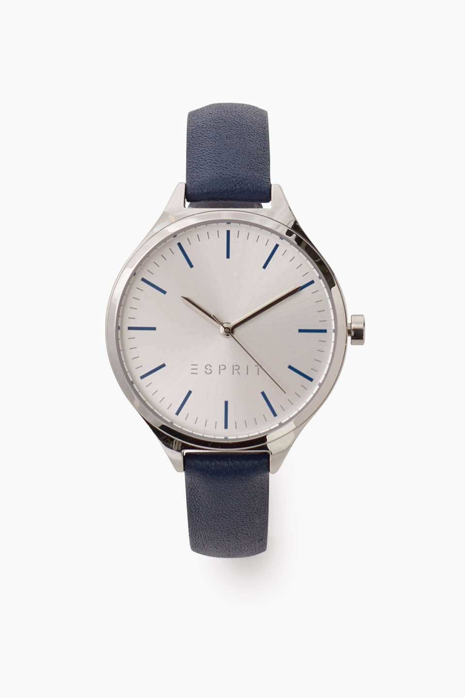 Esprit - Stainless steel watch + blue leather strap