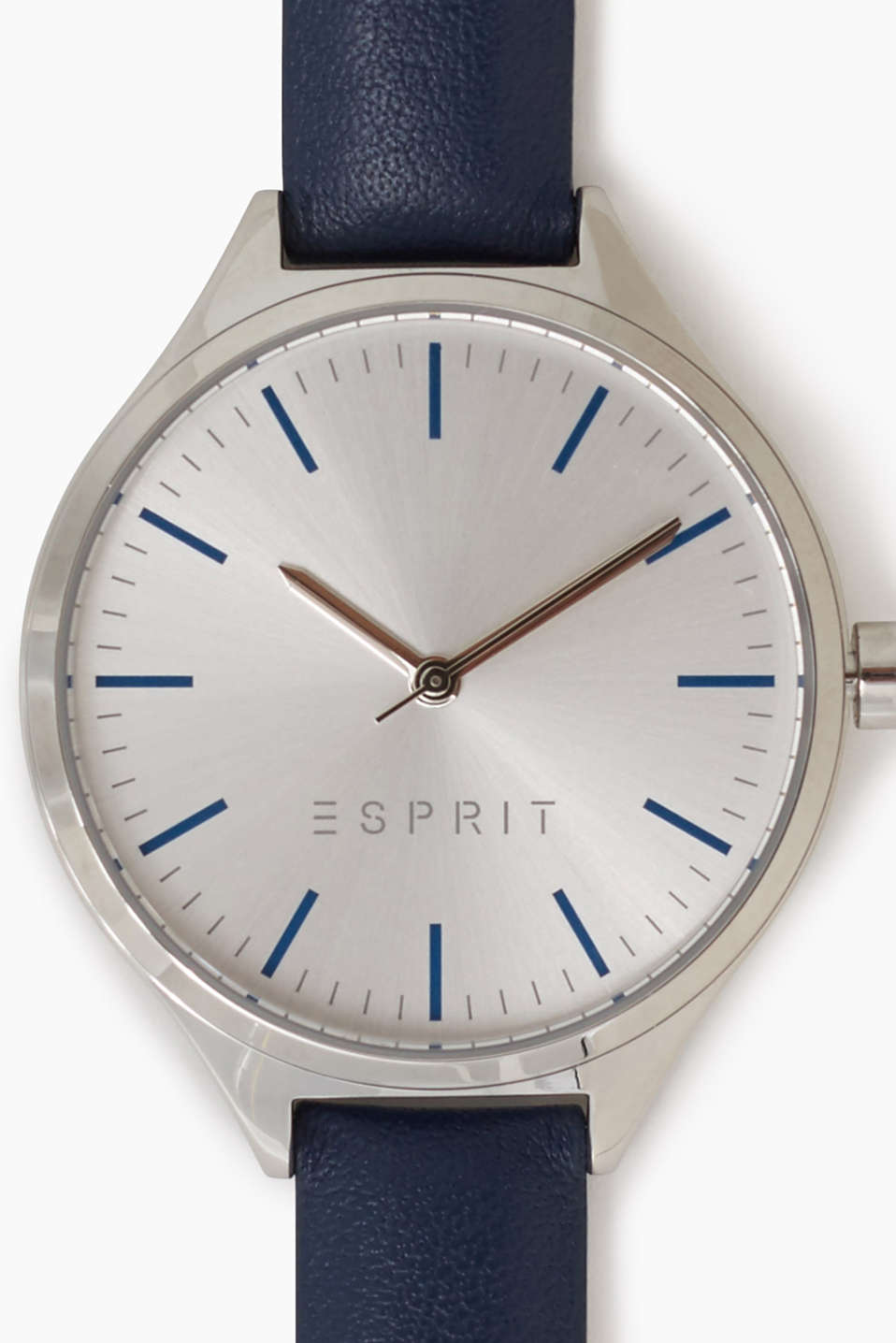 Stainless steel watch + blue leather strap
