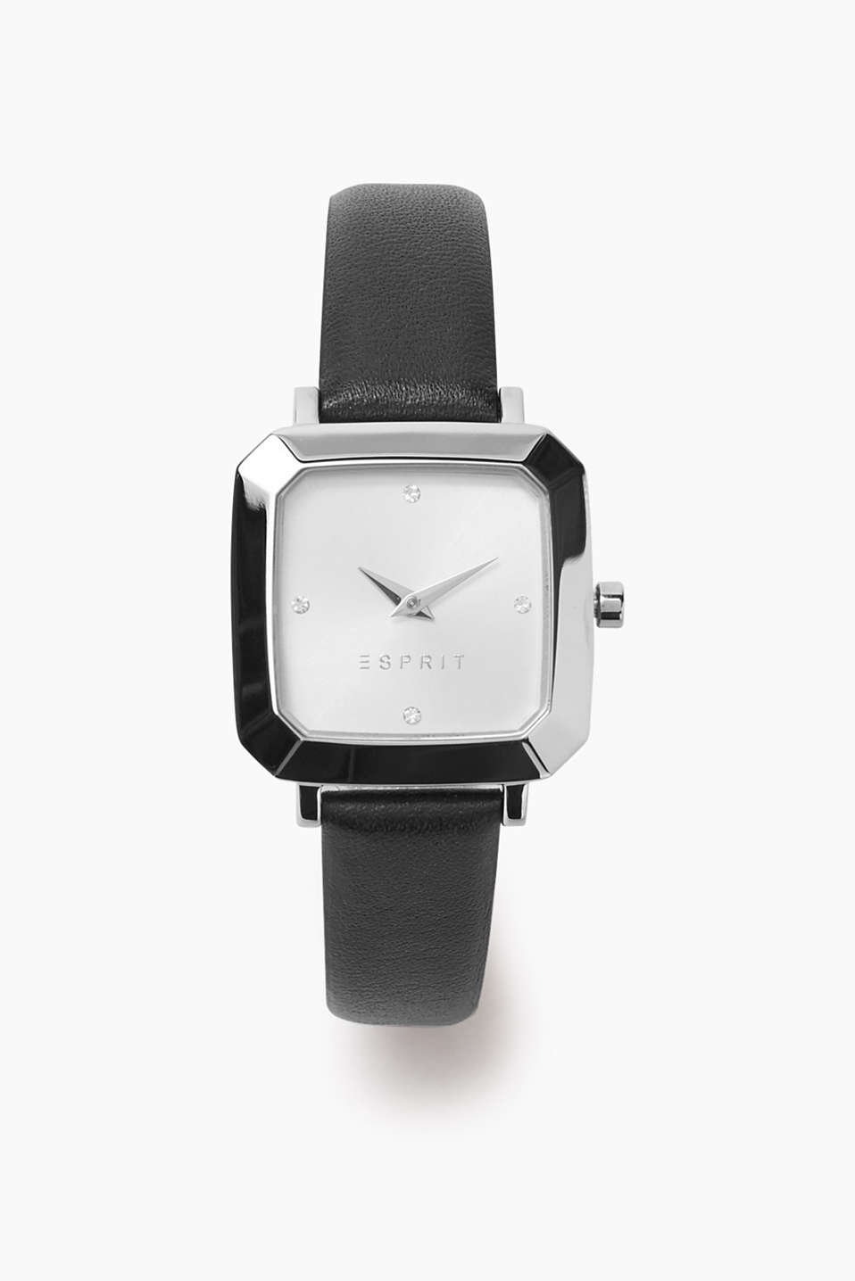 Watch with square stainless steel casing, dial with zirconia and leather strap, approx. 28 mm wide