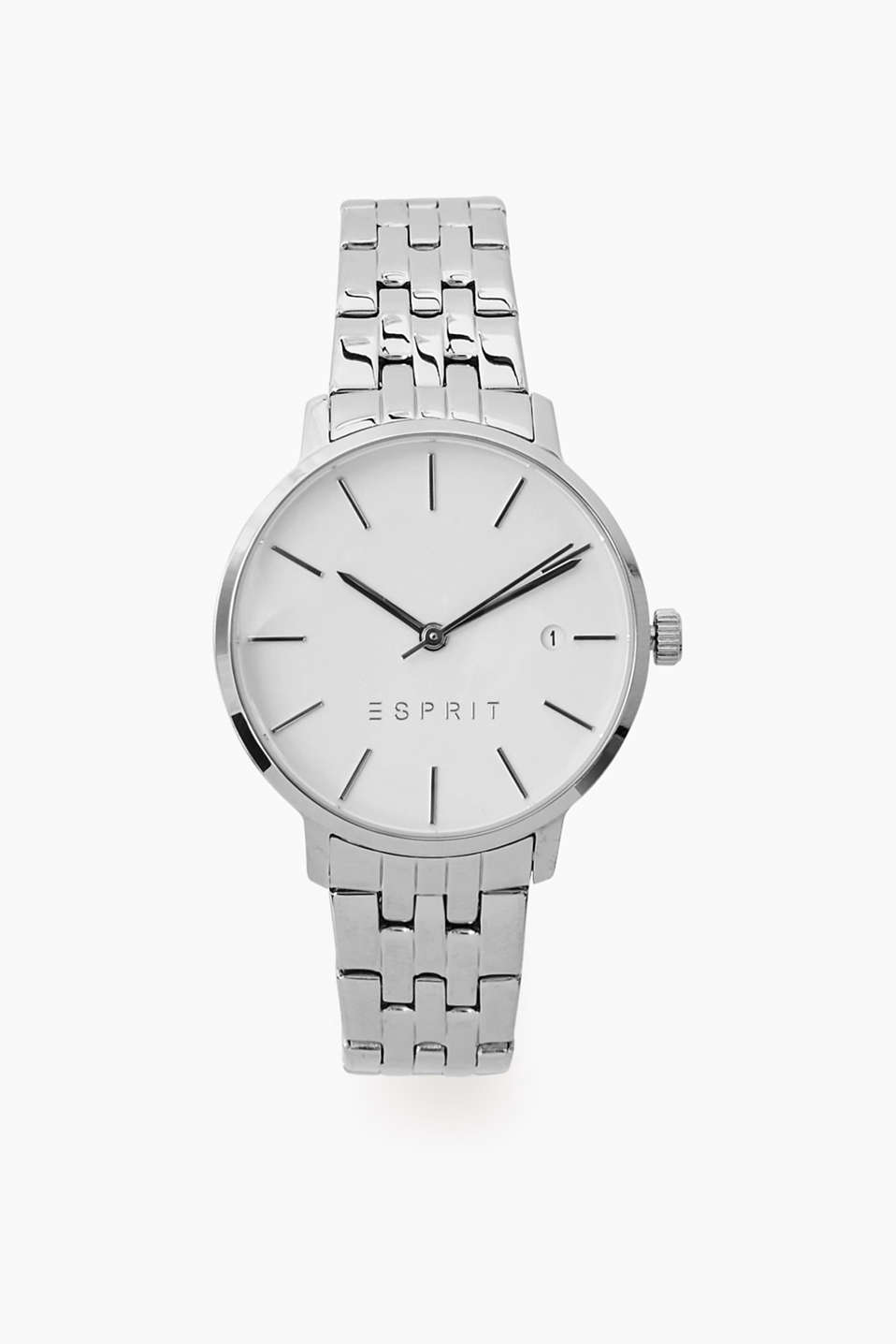Watch with polished stainless steel watch case and strap, white dial, date, Ø approx. 34 mm