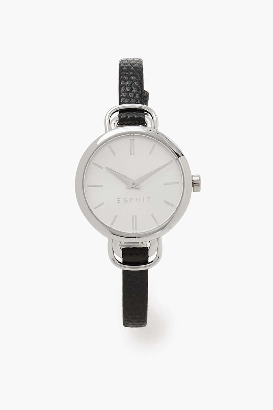 esprit uhr mit schmalem leder armband im online shop kaufen. Black Bedroom Furniture Sets. Home Design Ideas