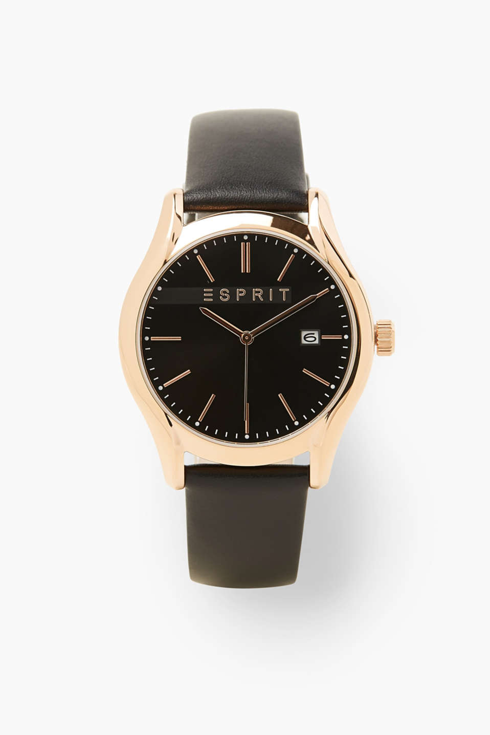 Black and gold! This classic watch for men features a timeless design