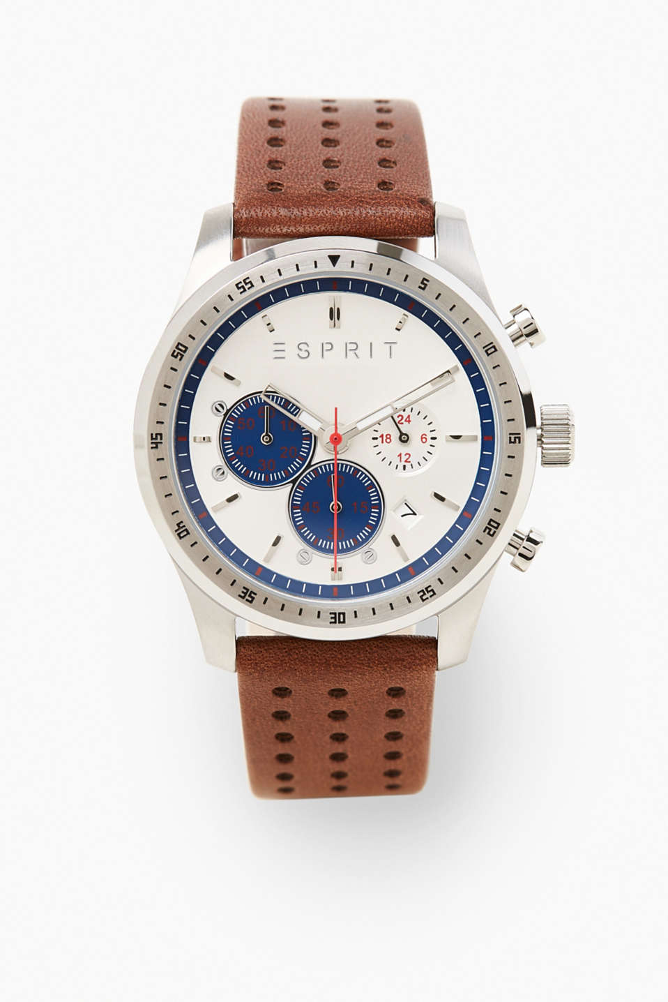 Esprit - Chrono with a perforated leather wrist strap