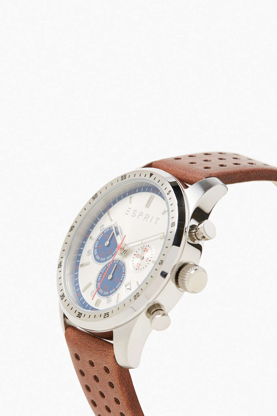 Chrono with a perforated leather wrist strap
