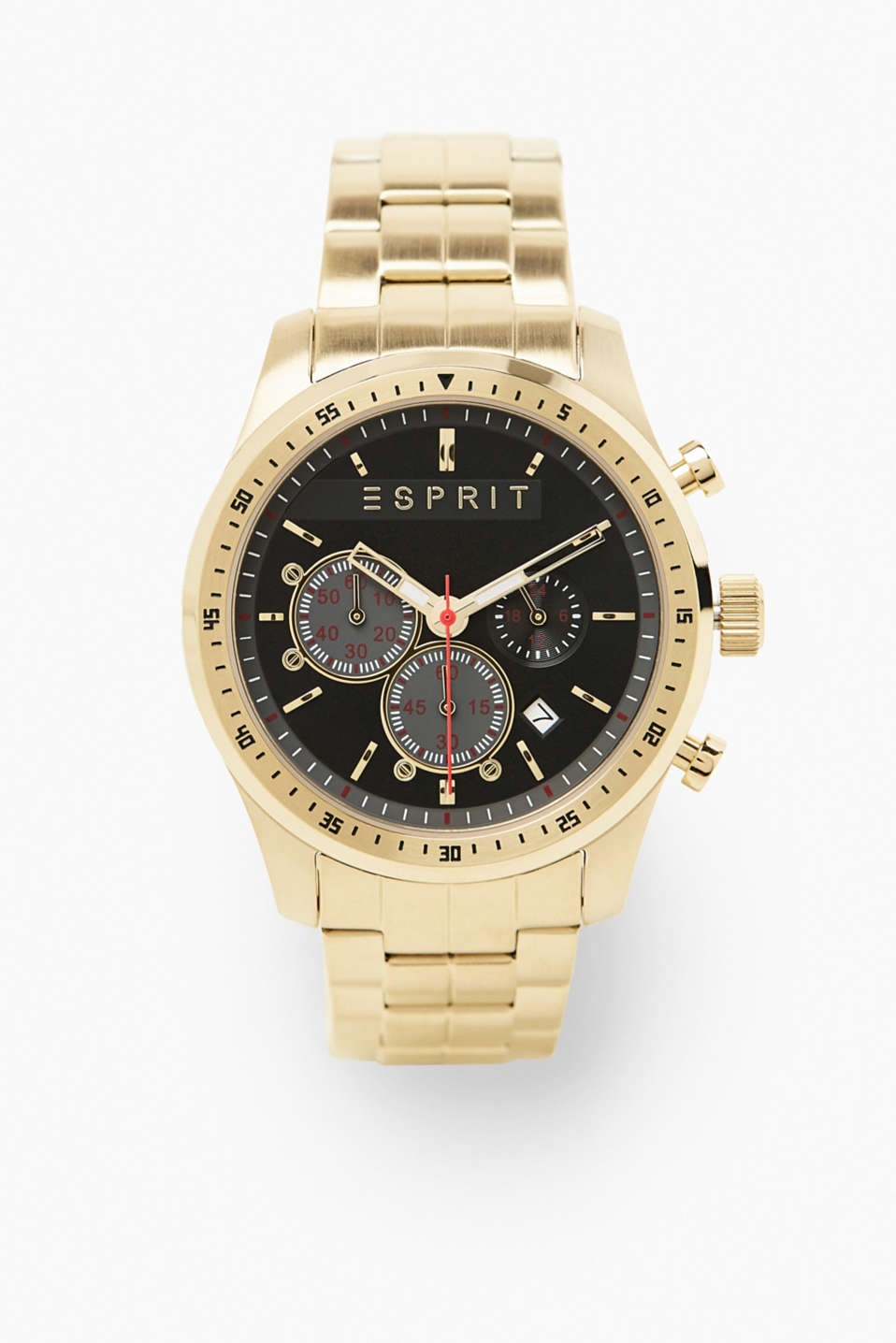 Functional and masculine! This chronograph stuns with its distinctive gold tone and multiple functions.