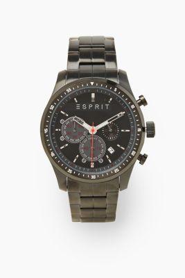 Sporty stainless steel chrono, BLACK, detail