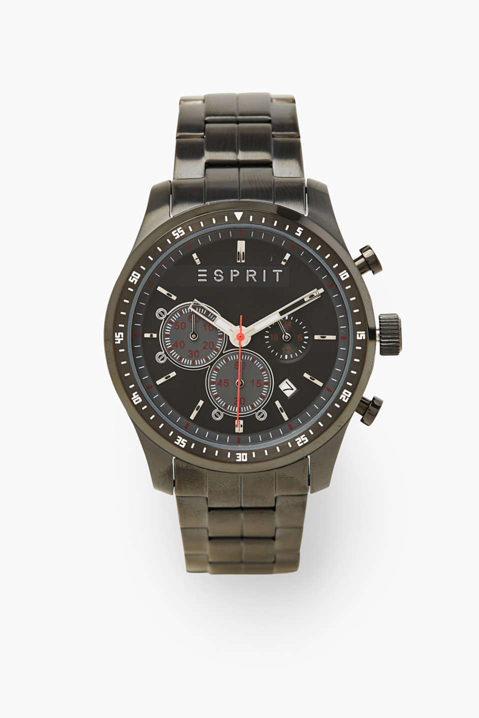 Sporty stainless steel chrono, BLACK, detail image number 0