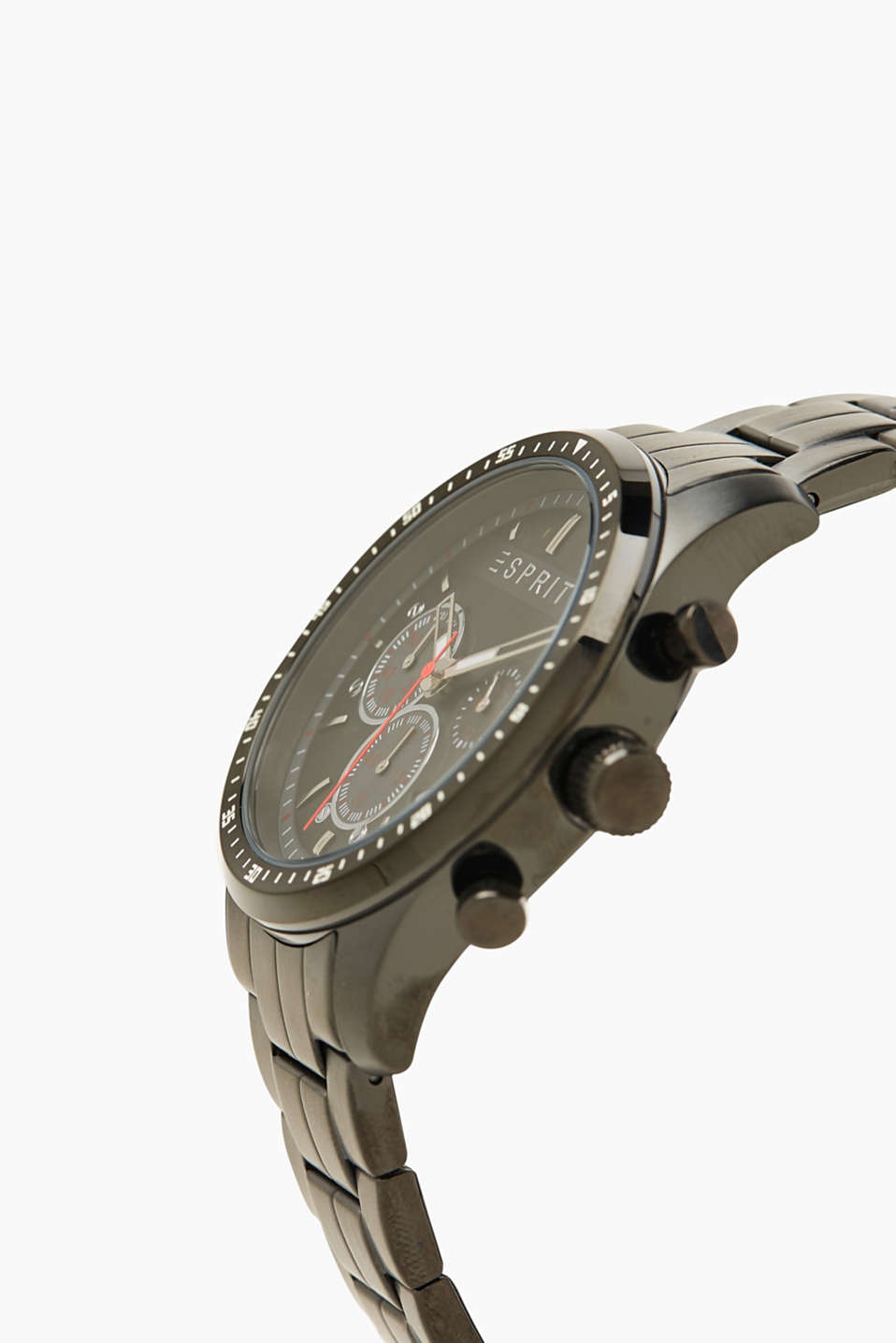 Sporty stainless steel chrono, BLACK, detail image number 1