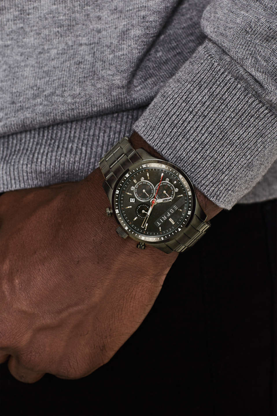 Sporty stainless steel chrono, BLACK, detail image number 2