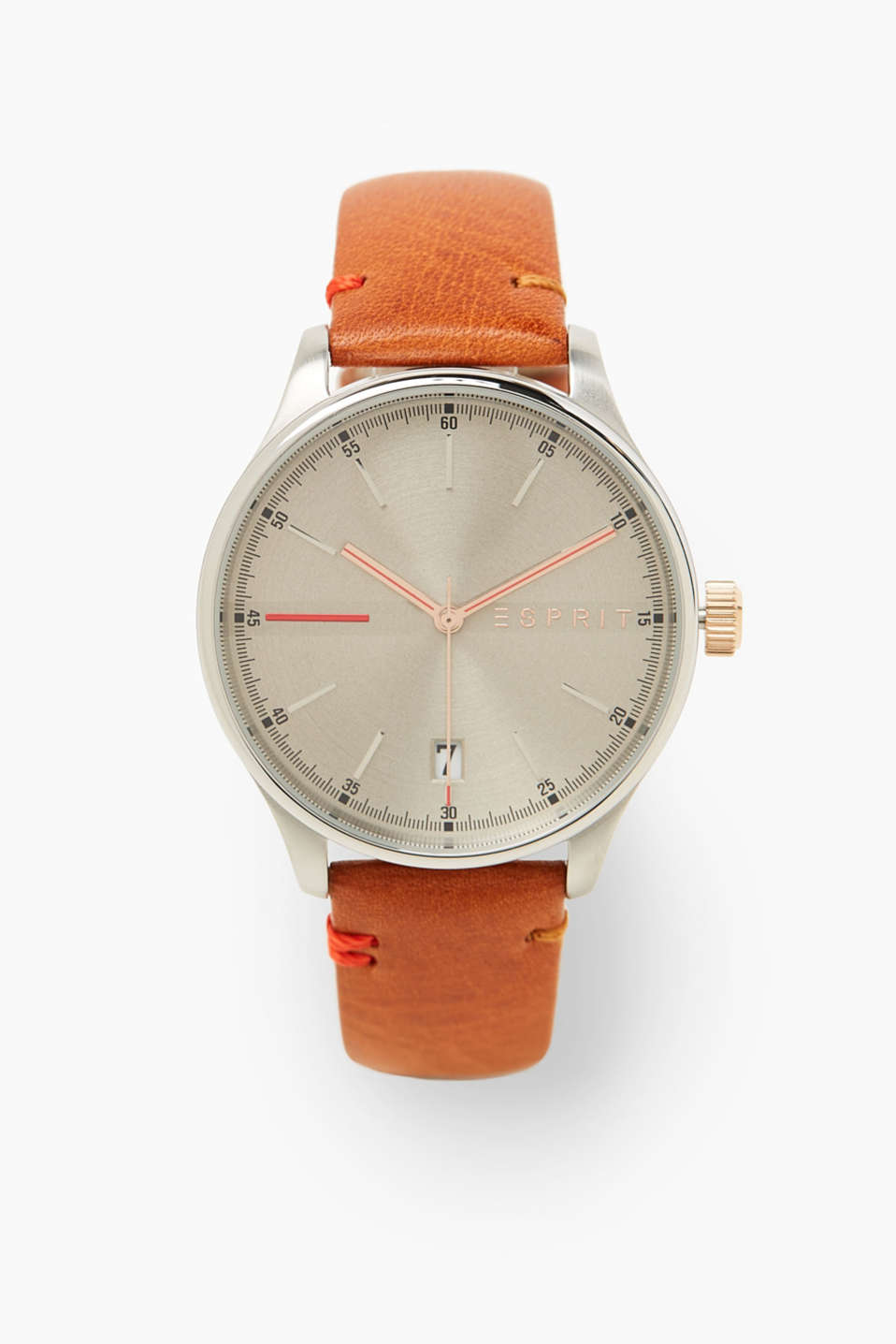 Esprit - Stainless steel watch with leather strap