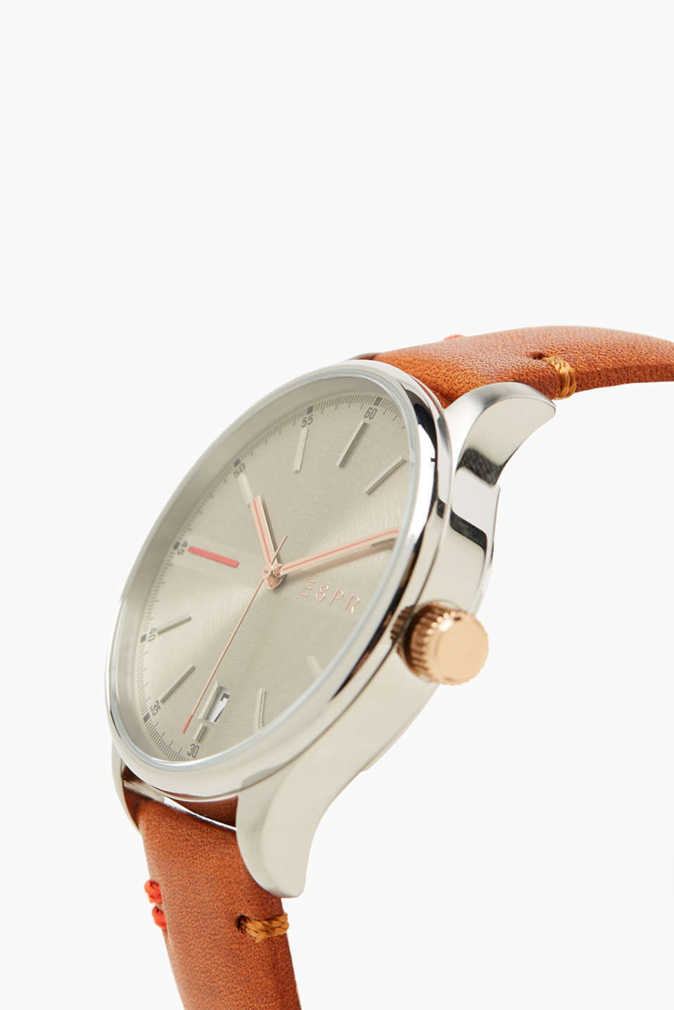 Stainless steel watch with leather strap