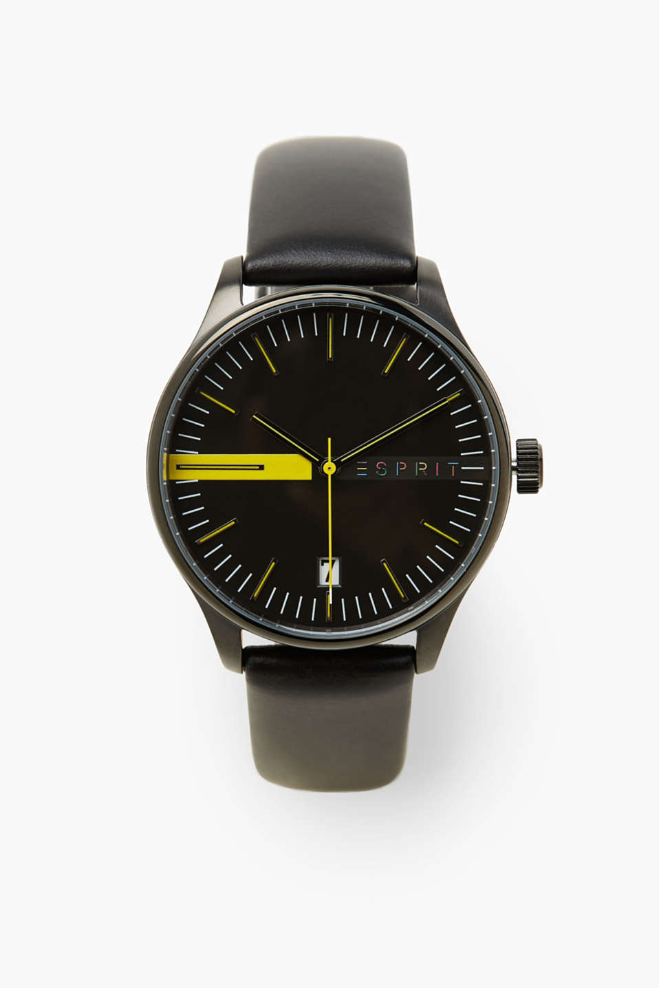 Watch styled in monochrome black with fine, yellow details, making it a modern accessory for men.