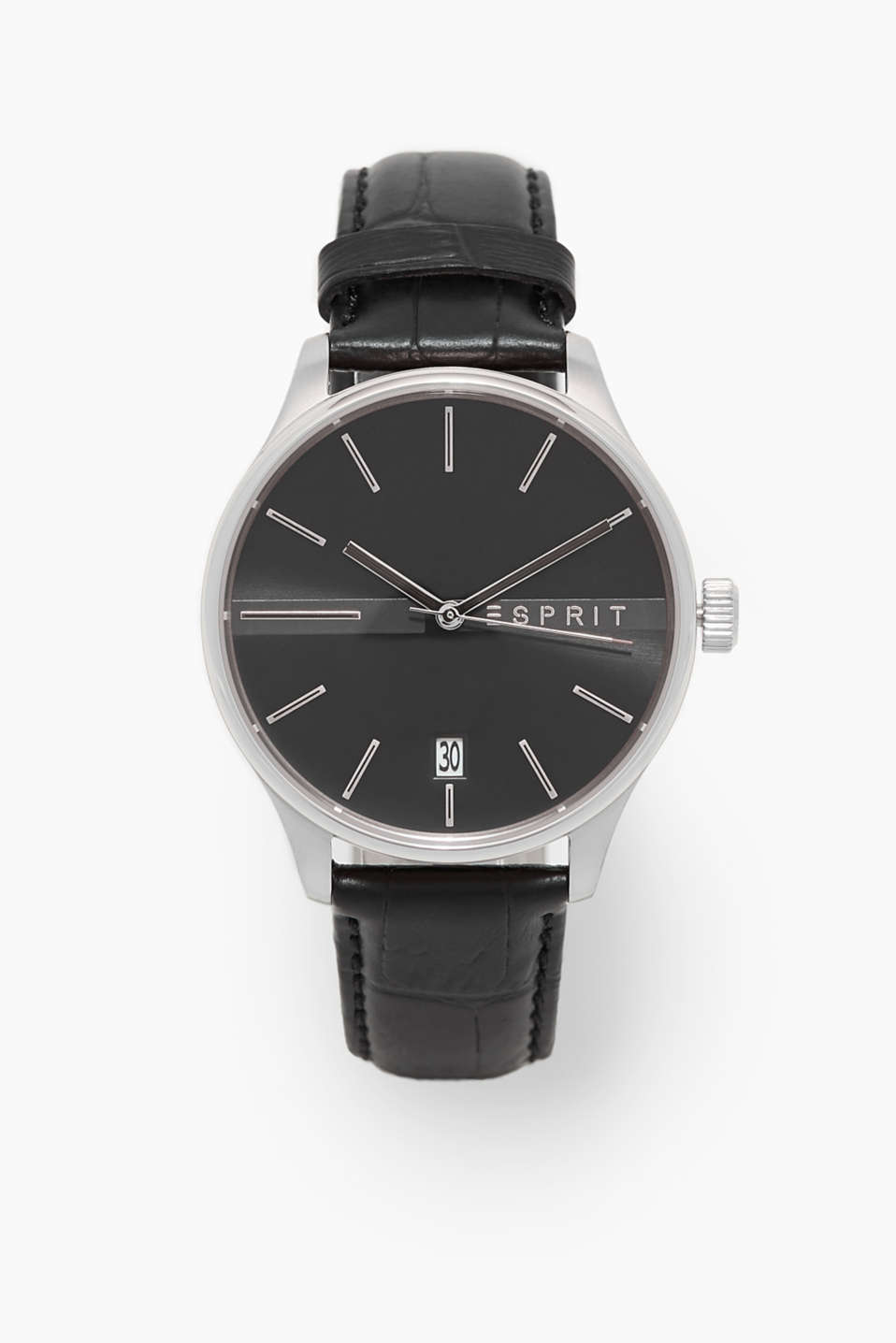 Esprit - Mens watch with embossed leather strap