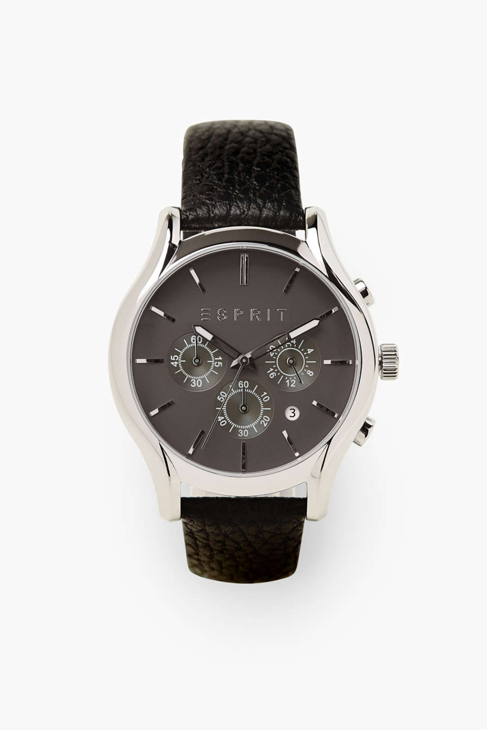 Esprit - Stainless steel chrono with a leather strap