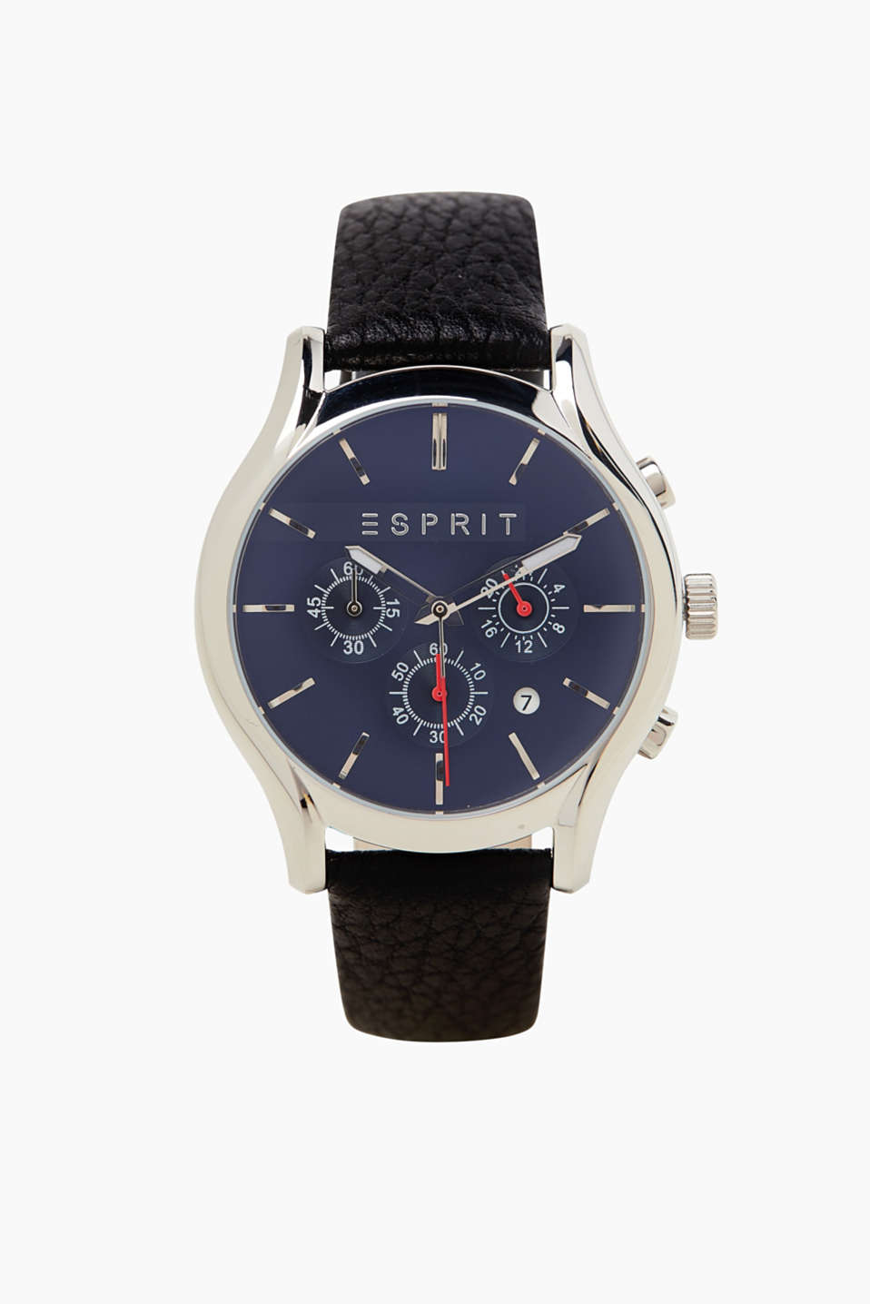 Esprit - Mens chrono with a leather strap