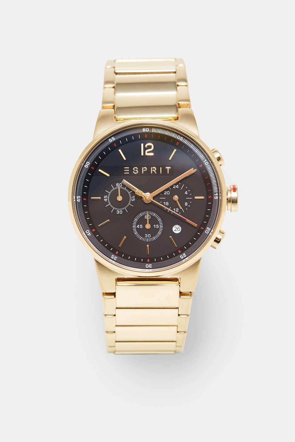 Stainless steel chronograph + link bracelet, GOLD, detail image number 0