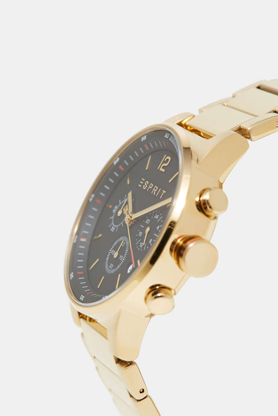 Stainless steel chronograph + link bracelet, GOLD, detail image number 1