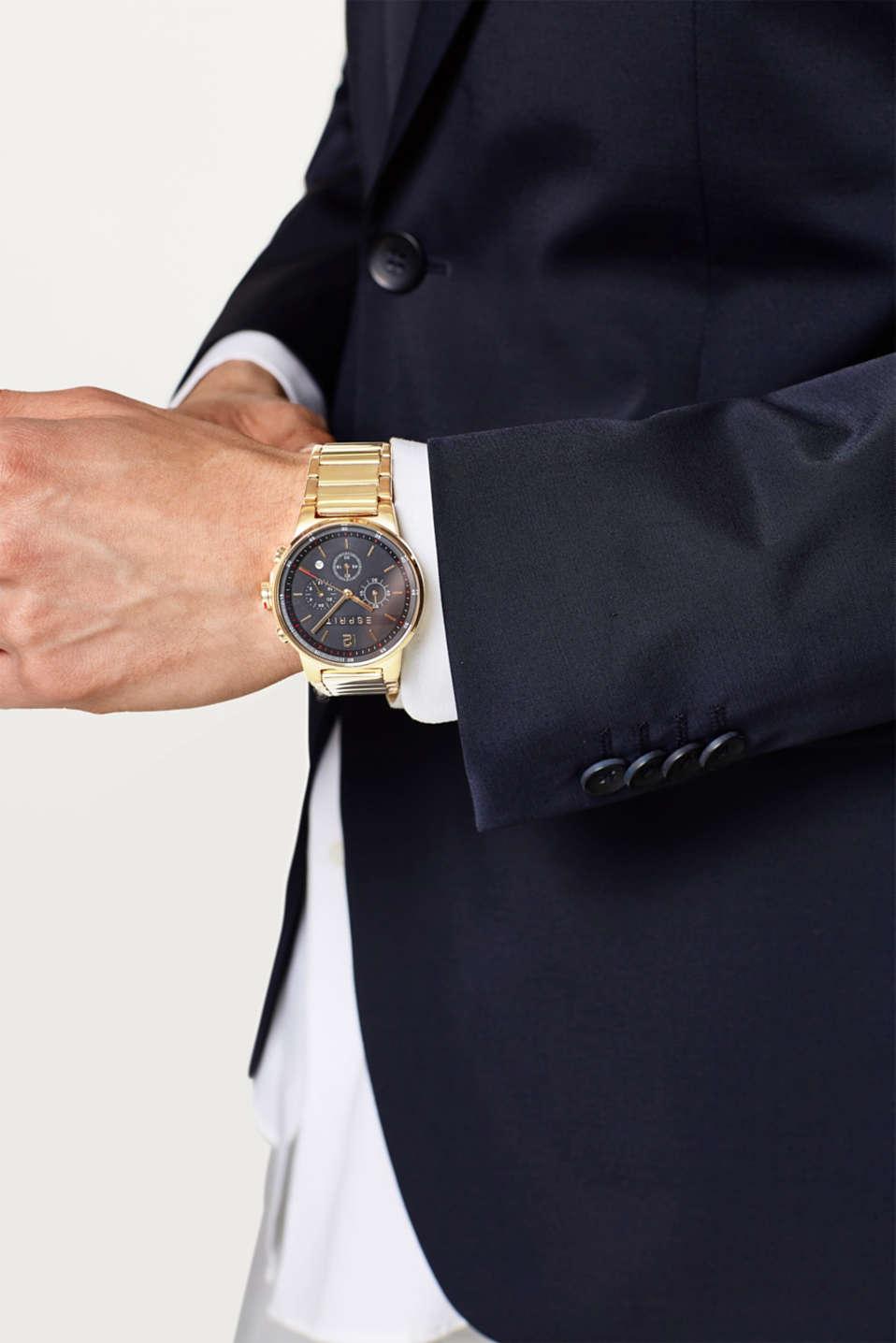 Stainless steel chronograph + link bracelet, GOLD, detail image number 2