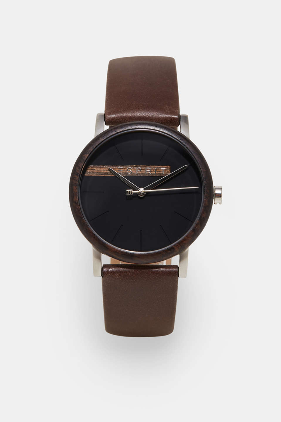 Esprit - Watch with wooden bezel for men