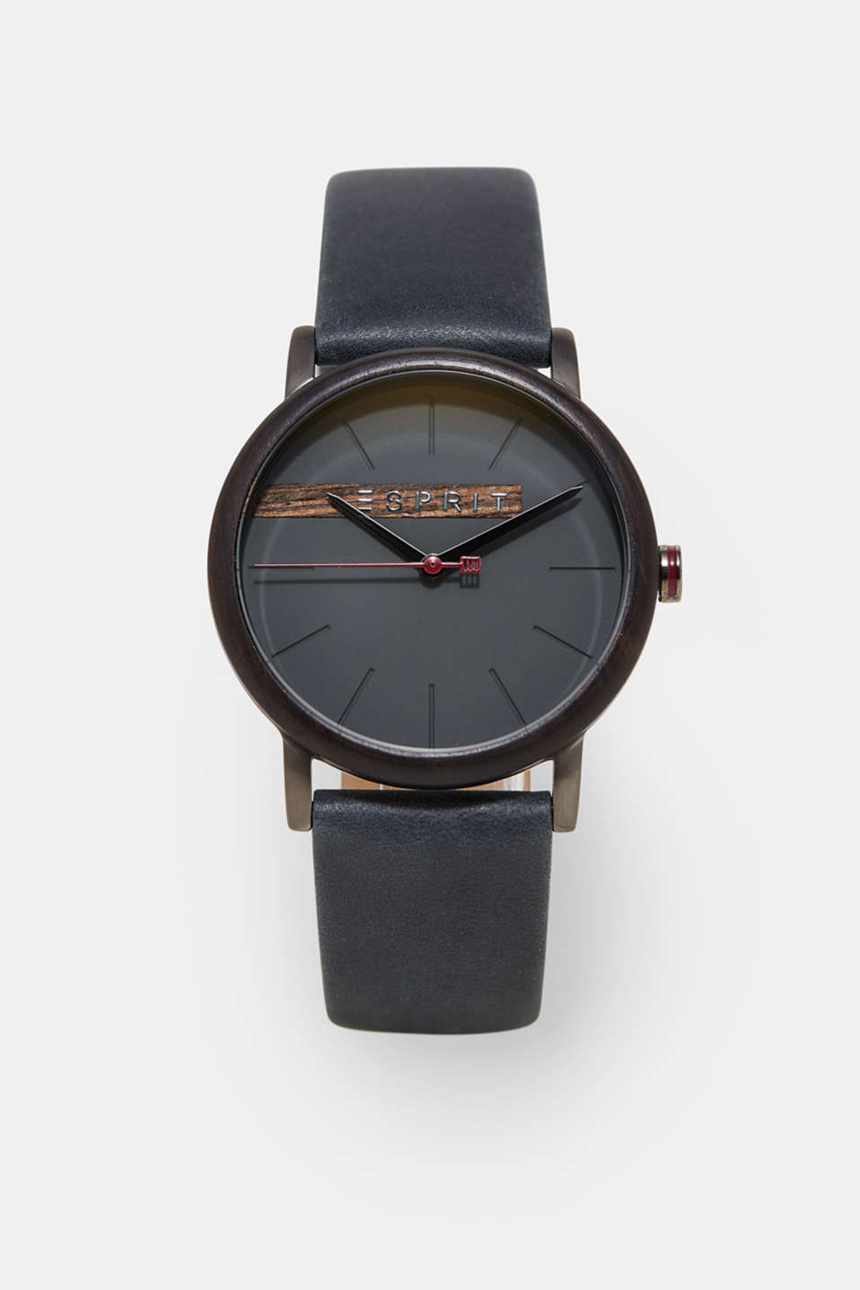Esprit - Mens watch with a wooden bezel