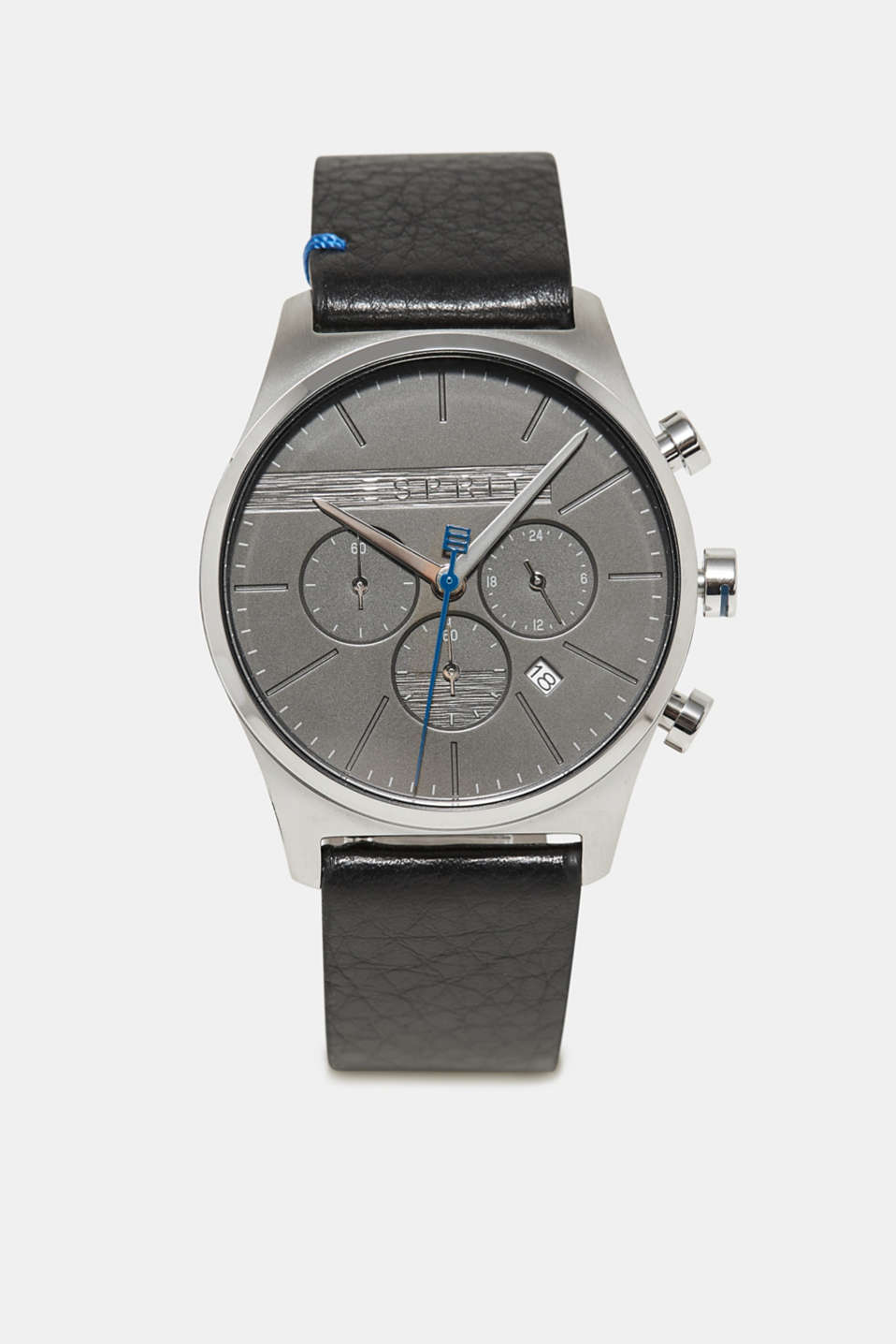 Esprit - Stainless steel chronograph with a leather bracelet